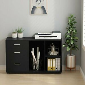39 3 Home Office Mobile Filing Cabinets With Open Storage Shelves Black White