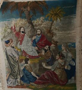 Antique Victorian Berlin Woolwork Tapestry Religious Jesus Preaching