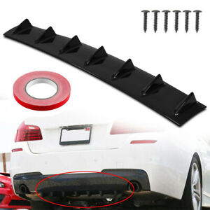 Car Rear Body Bumper Lip Diffuser Shark Fin 7 Spoiler Wing Chassis Abs Universal