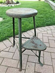 Antique Vintage Industrial Machinist Work Stool Chair