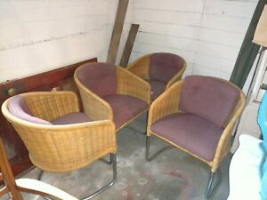 4 Wicker Chrome Cantilever Barrel Chairs 1970 S