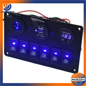 Car Marine Boat 6 Gang Circuit Blue Led Rocker 35a Heavy Duty Switch Panel Us