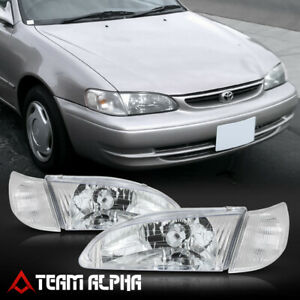 Fits 1998 2000 Toyota Corolla Chrome Clear Crystal Corner Headlight Headlamp