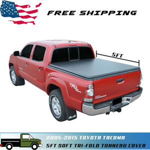 Fit 05 15 Toyota Tacoma 5ft 60in Fleetside Short Bed Soft Tri fold Tonneau Cover