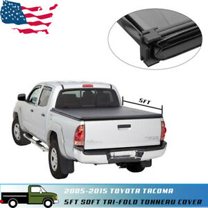 Fit For 2005 2015 Toyota Tacoma 5ft Short Bed Soft Tri fold Tonneau Cover