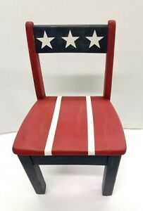 Patriotic Shabby Chic Child S Solid Wood Chair Americana Decor