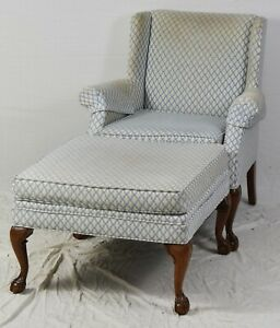 Mahogany Chippendale Style Wing Chairs With Footstool Ottoman W Claw