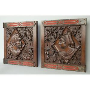 Fine Pair Of Antique Carved Walnut French Renaissance Gothic Style Door Panels