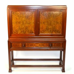 Fine Mahogany Burr Walnut Bar Cabinet On Stand By Henri Dreesen Ex Christie S