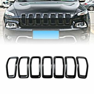 Black Front Grille Inserts Mesh Trims Cover Accessories For Jeep Cherokee 14 18