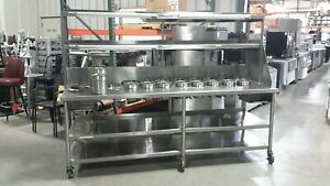 Used 96 Commercial Wing Station worktable With Double Overshelf