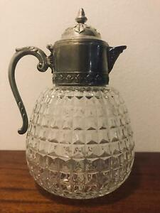 Rare Diamond Cut Silver Plated Glass Pitcher