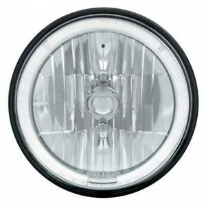 United Pacific 31285 7 Inch Crystal Headlight W Led Halo Ring