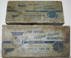 2 Vintage Central Tools Micrometer 2 And 3 Inch Usa