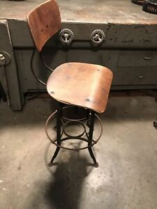 Vintage Industrial Toledo Uhl Drafting Stool Chair