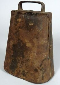 Antique 19th C 1910 Farm Primitive 6 Hand Forged Cast Iron Cow Bell 2
