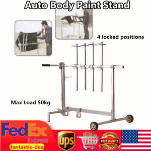 Auto Body Paint Stand Rolling Painting Rack Door Hood Holder 7locking Position