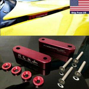 2x Jdm Password Vehicle Billet Hood Vent Spacer Risers Red Aluminum Alloy Decor