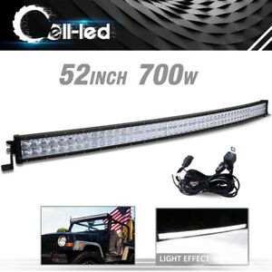 52inch Curved Led Light Bar Spot Flood 54 Wiring For Chevy Silverado 1500 2500