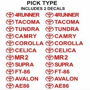Toyota Decals Set Of 2 4runner Tundra Tacoma Supra Mr2 Camry Corolla Ft86 Celica