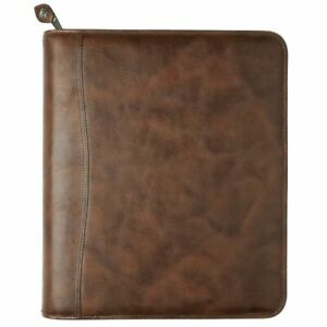 Distressed Leather Zippered 1 5 Inch Planner Cover With Multi pockets