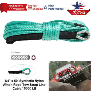Winch Synthetic Rope Line 10000lb 1 4 X50 Grey Recovery Cable For Atv Utv Suv