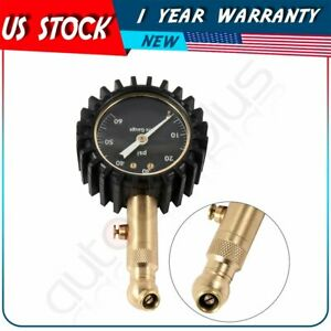 Premium Tire Pressure Gauge With Integrated Hold Valve 60 Psi Dial Meter New