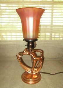 Copper Cast Iron Art Deco Scarf Dancer Figural Nymph Lamp W Vintage Nuart Shade