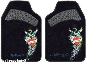 Ed Hardy 2 Piece Set Car Truck Peacock Floor Mats