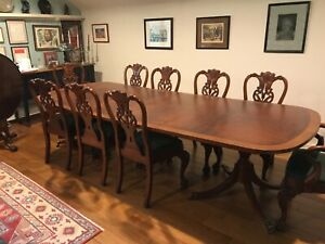 10 High Quality Georgian Or Chippendale Dining Chairs Two With Arms