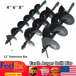 4 6 8 Earth Auger Drill Bits For Petrol Post Hole Borer 12 Extension Bar