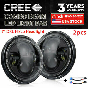 Dot Approved Pair 200w 7 Led Headlights Hi lo For Jeep Wrangler Tj Jk Lj 97 17