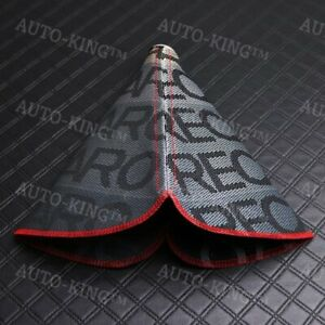 Red Stitches Jdm Recaro Racing Hyper Fabric Shift Knob Shifter Boot Cover Mt At