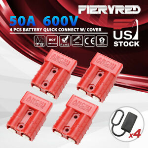 4pcs 50a Battery Quick Connect Disconnect 600v Plug Charger 2 Pole Dust W Cover