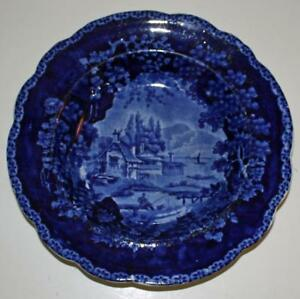 William Adams C 1825 Historical Blue Deep Plate Or Bowl With Fisherman