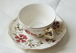 Zsolnay Pecs Floral Butterfly Porcelain Cup And Saucer Hand Painted Hungary