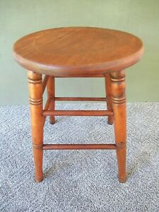 Antique Stool Primitive Vintage Wood 18 Tall 13 Round Concave Oak Seat Stand