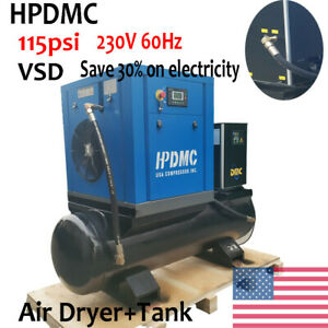 Hpdmc 10hp Single Phase Rotary Screw Air Compressor 115psi 230v Air Dryer tank