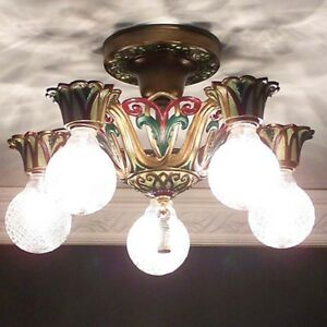 562 Vintage 20s Ceiling Light Fixture Art Nouveau Antique Chandelier