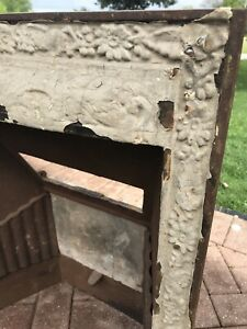 Antique Victorian Cast Iron Fireplace Insert Surround