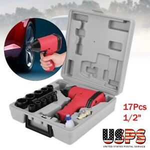 17pcs 1 2 Twin Hammer Air Impact Wrench Gun W Sockets us Adapter case Set Us