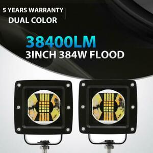 2x 3inch 384w Led Work Light Pods Flood Atv For Jeep 3x3 Reverse Offroad Driving