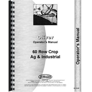 New Oliver 60 Tractor Operators Manual industrial And Row Crop
