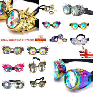 Crystal Kaleidoscope Lense Rave Goggles Rainbow Cosplay Cyber Welding Gothic Uk