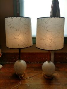 Pair Geometric Wood Glass Table Lamps Vintage Mid Century Mcm With Shades White