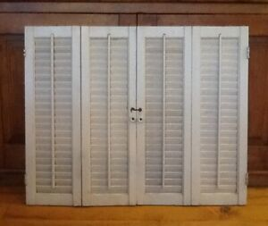 Pair Of Vintage Cream Paint Wood Interior Louvered Window Shutters Salvage Decor