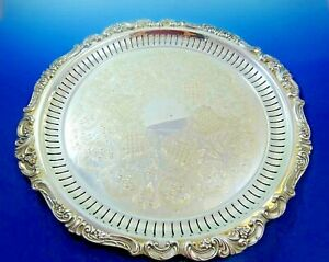 Footed Tray In Baroque Pattern Silverplate By Wallace