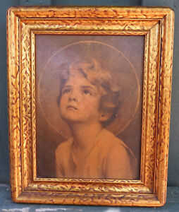Vintage Arts Crafts Mission Style Gold Wood Frame With Rounded Corners
