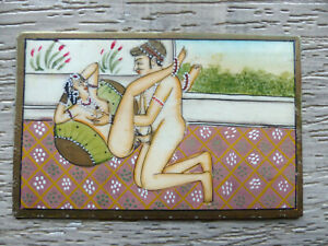 Antique 19thc Erotic Handpainted Indian Miniature Painting Making Love Not Paper