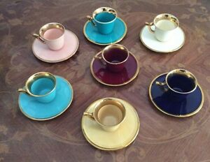 French Faience Expresso Coffee Sets Gold Trim Great Colors
